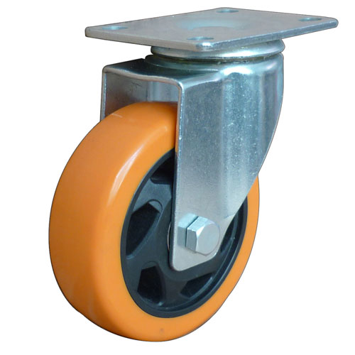 Yellow medium duty swivel caster